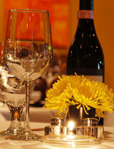 Wine Bottle, Glasses & Flowers