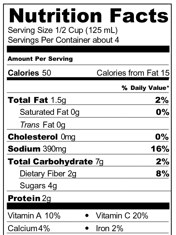 Pomodoro Nutrition Facts