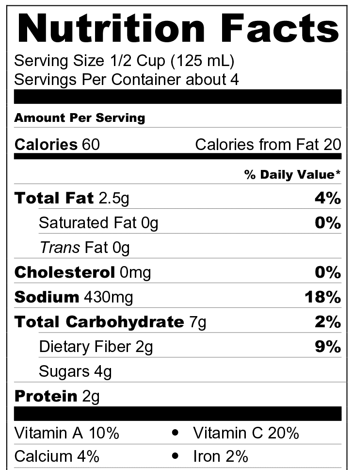 Puttanesca Nutrition Facts