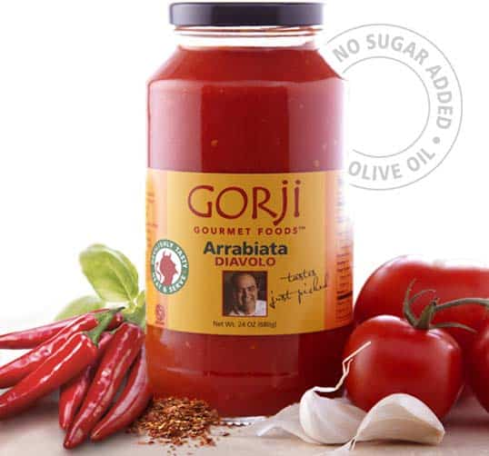 Arrabiata sauce, a spicy tomato sauce with no sugar or preservatives.