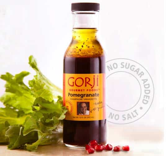 Pomegranate vinaigrette, an olive oil salad dressing and pork chop marinade by Chef Gorji