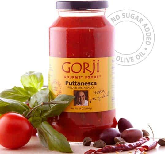 Puttanesca sauce, a zesty tomato sauce.