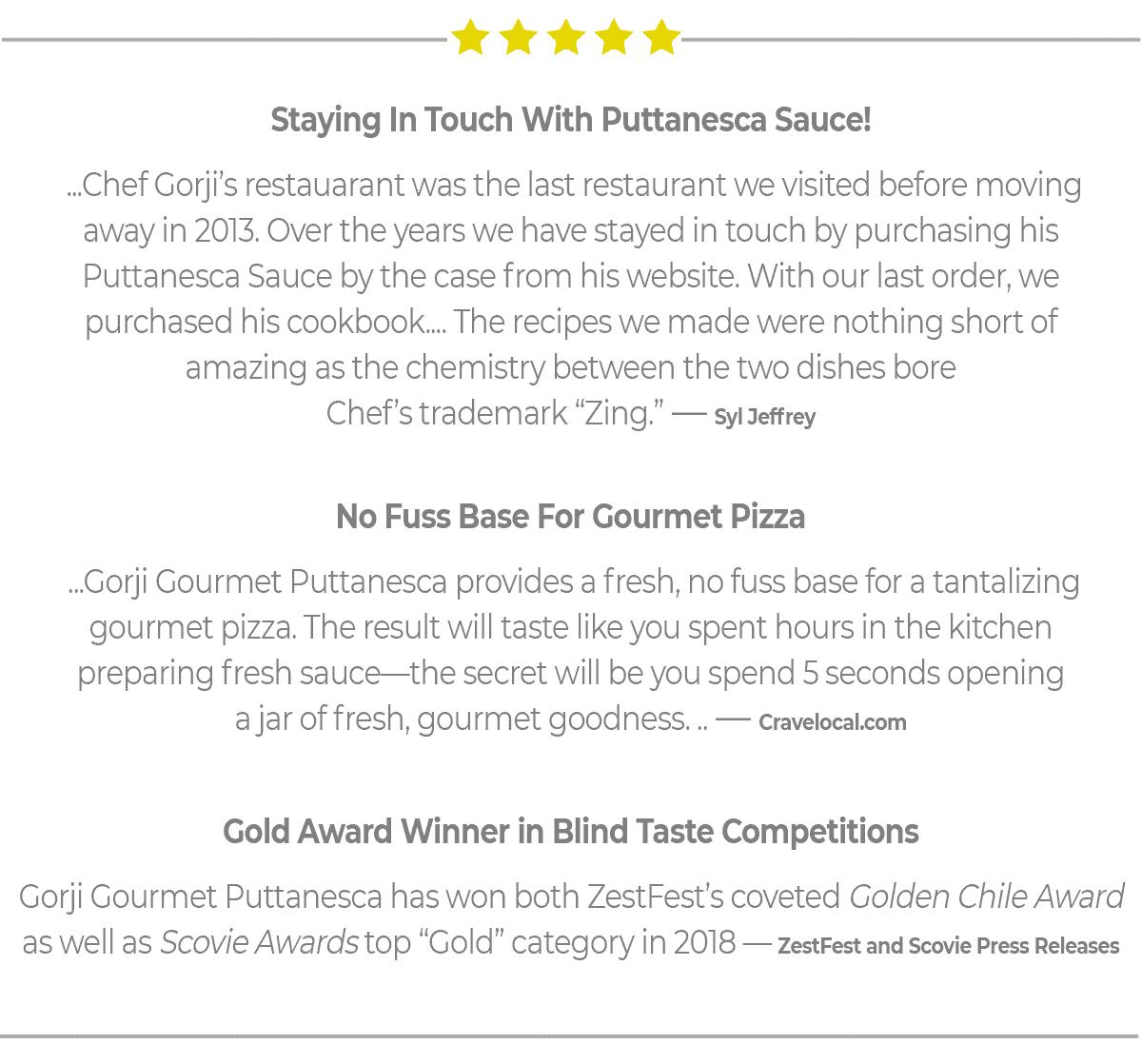 Gorji Gourmet Puttanesca Sauce Reviews