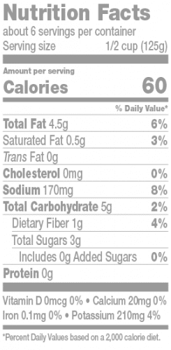 Pomodoro Nutrition Facts Panel