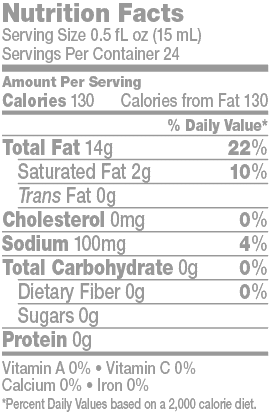 Cooking Olive Oil Primer Nutrition Facts Panel