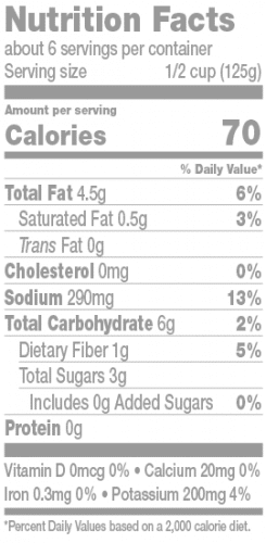 Puttanesca Nutrition Facts Panel